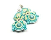 Soutache Earrings. Hand Embroidered Turquoise Earrings. Soutache Jewelry. Turquoise. Oriental. Colored Jewelry.