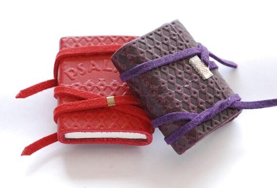 Handmade Leather Covered Souvenir - Tiny Book of Psalms - Tehillim