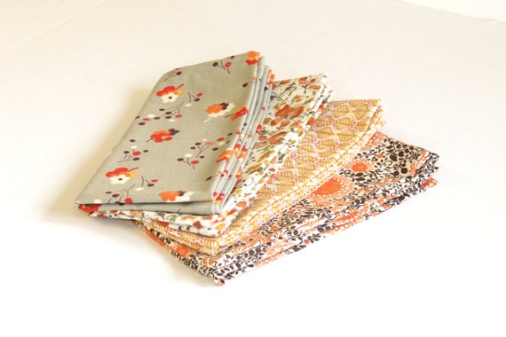 Fields of Gold Cloth Napkins - Thanksgiving to Christmas Table Decor - Set of 4 - Designer Fabrics in Grey, Orange, White, Gold