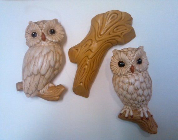 Vintage Ceramic Handmade Owl and Branch Wall Hangings - Set of 3