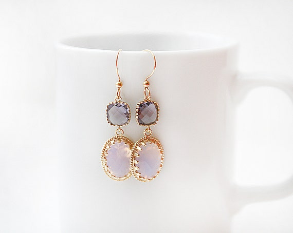 Polished Gold Framed Tanzanite Glass Connector with Pink Opal Glass Pendant Earrings