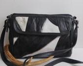 Vintage Black and White Leather Patchwork Bag - 1980s 1990s Crossbody Purse Handbag Shoulderbag Boho Chic Fashion Accessory