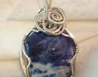 Small Sodalite Pendant Solid 935 Sterling silver Wire Wrapped in Argentium Anti Tarnish wire