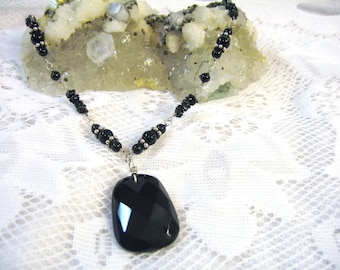 Black Onyx Necklace Solid 935 Sterling Silver Argentium Anti tarnish Wire Wrapped