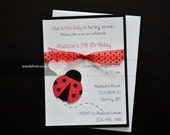 Set of 8 Handmade Lady bug Invitations on white linen card stock
