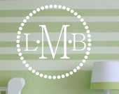 Circle Monogram Vinyl Wall Decal - Nursery & Children's Monogram Vinyl Wall Art - Initial Vinyl Lettering