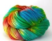 Hand Dyed Superwash Wool Fingering/Sock Yarn - Rainbow