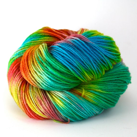 Hand Dyed Superwash Wool Fingering/Sock Yarn - Rainbow