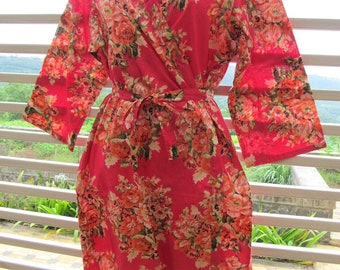Pink Floral Getting Ready Kimono Robe - Crossover patterned Wrap in Cotton - Bridesmaids gift, getting ready robes, Bridal shower favors