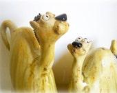 Two Camels Ornament, Handmade Ceramic Camel Ornament, Stoneware Ceramic Camels for Decoration
