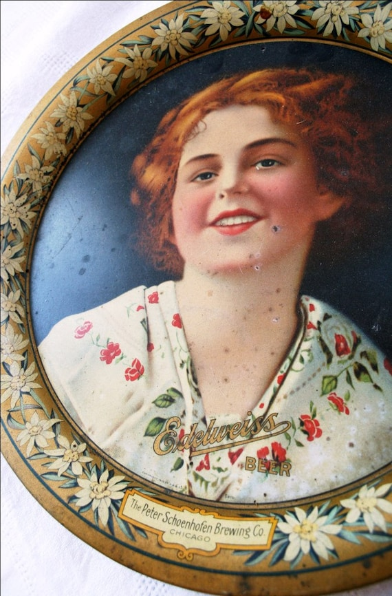 Advertising Tin Tray From Edelweiss Beer With Pretty Redhead