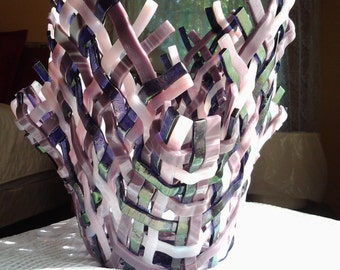 Woven Fused Glass Vase, Fused Glass Weave Sculpture, Iridescent Purple Pink Art Glass Vase Sculpture - 036