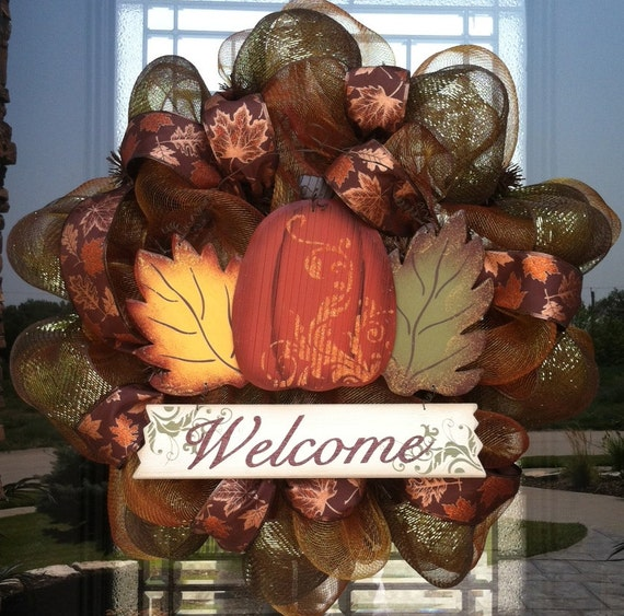 Pumpkin and Leaves Welcome Fall deco mesh Wreath