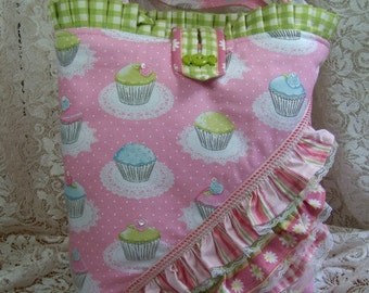 TOTE, Purse, Frou Frou Cupcakes, Pink, gingham, ruffles, sequins