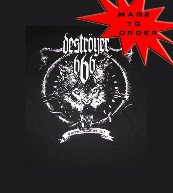 Ladies made to order DESTROYER 666 band shirt. Any style shirt you want. Perfect for the heavy metal fan. Upcycled DIY Reconstructed.