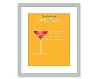 MANHATTAN Mixed Drinks Bar Print - Nightclub mixology print - drink recipe - Martini Alcohol art - Bartender Recipe Kitchen poster