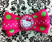 Hello Kitty Hot pink and Green Hair Bow
