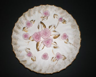 Lefton Porcelain Pink Roses Plate, 3D Raised Flowers, Floral Wall Hanging with Original Label