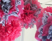 5 Pink and Zebra Hanging Tissue Paper Pom Poms / Baby Nursery Mobile / First Birthday / Decoration READY TO SHIP