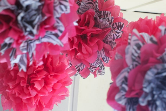 PINK & ZEBRA SET / 5 Tissue Paper Poms / Baby Nursery Mobile / First Birthday / Minnie Mouse Party Decor / Bachelorette Decor
