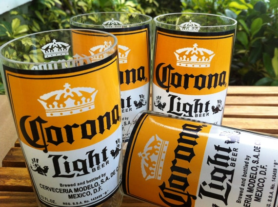 Corona light beer glasses set of four 4 by glassartsd on etsy for How to make corona glasses