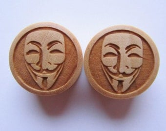 "Custom Handmade ""Anonymous - V for Vendetta"" Organic Wood Plugs - You choose size 00g - 30mm - Limited Edition - ONLY 50 will be made"