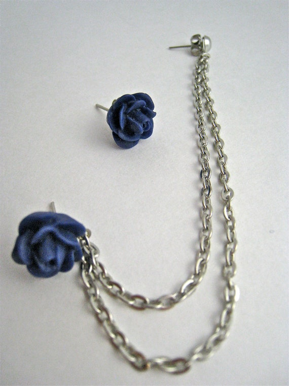 items similar to blue flower silver cartilage earring