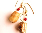 Natural Gemstone Earrings for Her Red Coral Bamboo and Jasper Earth Tones Wire Wrapped Gold Tone Half Moon Jewelry for Women Autumn Colours