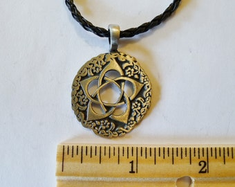 A Beautiful Round  Fine Pewter  Silver Antiqued Pendant