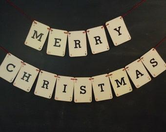 Merry Christmas Banner, Vintage Holiday Garland, Christmas Garland