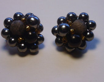 1950s Grey, Black and Gold Beaded Clip On Earrings FREE SHIPPING