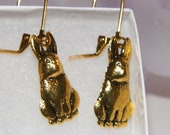 Sparkly Golden Rabbit Dangle Pierced Leverback Earrings