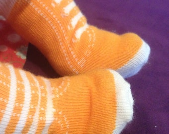 Orange Hightop Sneaker Sock Shoes with for Baby Stella, Bitty Baby, Waldorf and 13 14 15 16 In Dolls, Doll Clothes