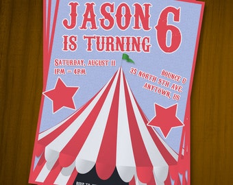 Carnival Themed Birthday Invitations / Digital File / You Print