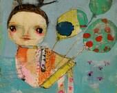 Dear Girl - 8.5x11 Art Print of a Reproduction of Original Mixed Media Painting by Keli McKinley Hansen