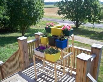 Flower Pot Shelf Stand, Window Flower Box Shelf Stand, Wood Flower Pot Shelf, Indoor & Outdoor Flower Pot Shelf