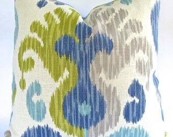 Decorative Ikat , Paisley Both Sides, Aqua Pillow cover, Blue, Green, Grey, 18x18, 20x20, 22x22 or Lumbar Throw Pillow