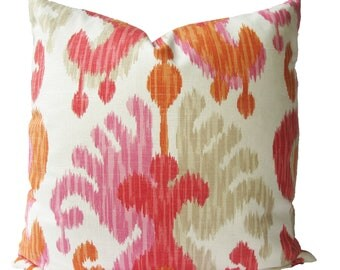 Decorative Designer Ikat Abstract Paisley, Orange, Pink,  18x18, 20x20, 22x22 or Lumbar Throw PIllow