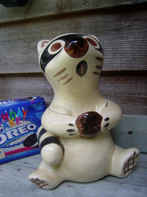 Adorable Raccoon Cookie Jar Vintage Racoon Cookie Jar