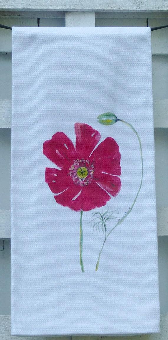 Poppy Cotton Huck Kitchen Towel