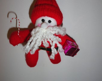 Santa Glove Ornament with present and candy cane