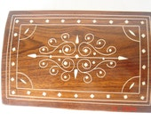 Wooden jewelry Box Inlayed with floral design