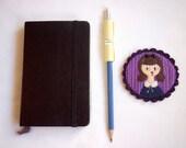 H U M A N I M A L handmade felt brooch - cute cat girl on purple wallpaper