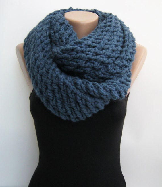 Blue chunky infinity scarf, hand knitted loop scarf
