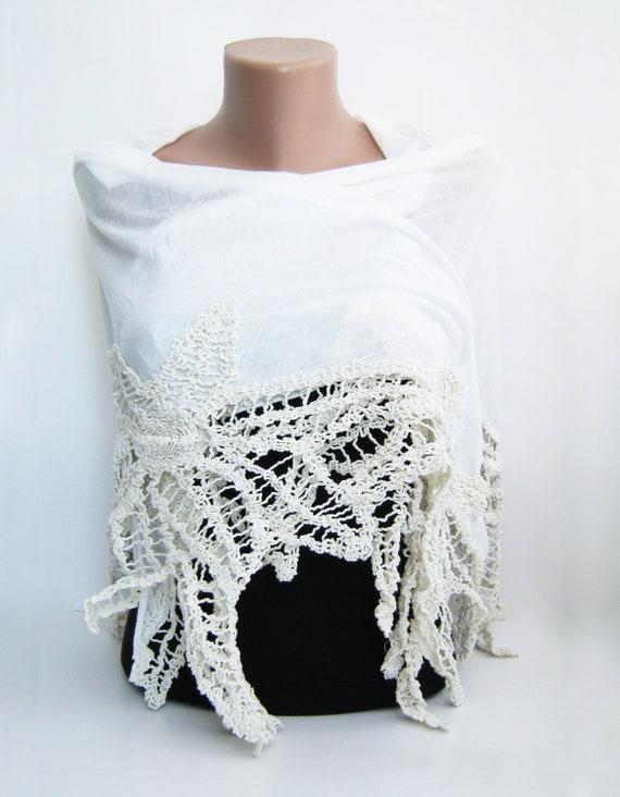 Ivory cotton shawl, summer shawl, fall scarf, cotton lace, lace fashion, women's lace shawl