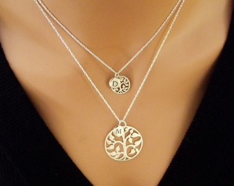 Mom and Daughter Tree of Life with  Initial Necklace   -   Sterling Silver,  Silver Bronze Plate,   Personal Initial