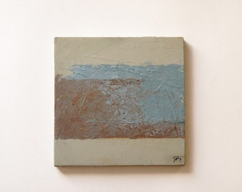 """Minimal geometric abstract painting Oil on wood Small textured palette knife work Soft color transition 7.5""""x7"""".  """"Confrontations 3"""""""