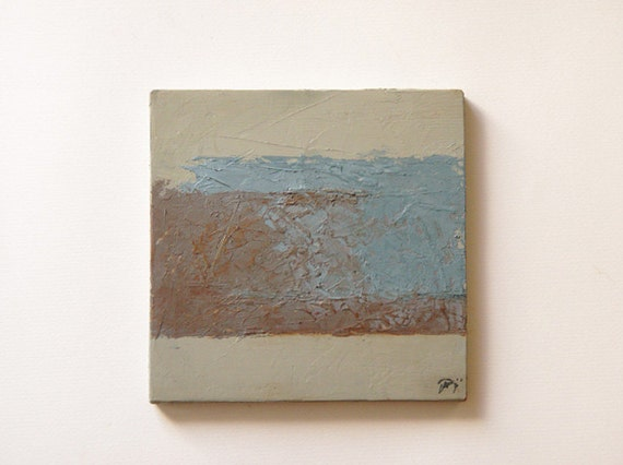 "Minimal geometric abstract painting Oil on wood Small textured palette knife work Soft color transition 7.5""x7"".  ""Confrontations 3"""