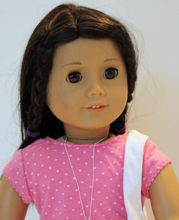 American Girl Pink Dot Top White Mini Skirt Purse Charm Necklace White Hobo Purse