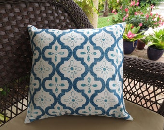 Pillow Cover Indoor/Outdoor Pillow Cover / Blue Pillow Cover / Moroccan Quatrefoil Pillow Cover